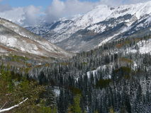 Mountains Along Million Dollar Highway, Colorado. Mountains along Million Dollar Highway near Ouray, Colorado after a snow storm in the Fall royalty free stock photos