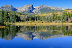 Mountains and alpine lake with reflection in the fall Stock Images
