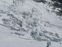 Mountains alps galcier crevasses Monte Bianco Royalty Free Stock Photography