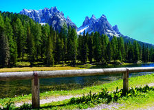 Mountains in the Alps. Mountains near Tre Cime (Three Peaks). Part of the Dolomites, a series of jagged mountains in the Alps of northern Italy Royalty Free Stock Images