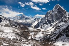 Mountains Ama Dablam, Cholatse, Tabuche Peak. Trek to Everest ba Stock Photo