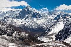 Mountains Ama Dablam. Trek to Everest base camp. Himalayas. Nepa Stock Photo