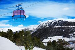 Mountains in Androrra and ski cable car Royalty Free Stock Image