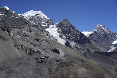 The mountains in Annapurana Circuit. Trekking in high camp,Annapurana Circuit,Pokhara,Nepal.all photos are original and with no photoshop royalty free stock photography