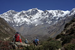 The mountains in Annapurana Circuit stock images