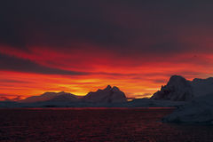Mountains of the Antarctic Peninsula during sunrise Stock Photography