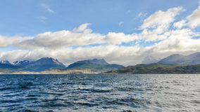 Mountains around the Beagle Channel, Argentina. The mountains and the sea, Beagle Channel, Ushuaia, Argentina stock image