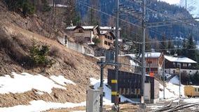 Mountains around bergun, switserland taken from the Rhatische Bahn. Picture of the bergun station around bergun Stock Photo