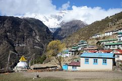 Mountains around capital of sherpas - Namche Bazar, Nepal Royalty Free Stock Images