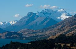 Mountains as seen from the road from Queenstown to Glenorchy in New Zealand stock image