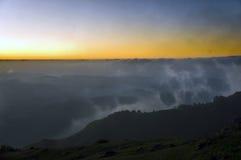 Mountains in Asturias. Misty sunset in El Sueve, Asturias Stock Images