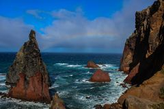 The mountains and the Atlantic ocean. Madeira Stock Images