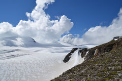 Mountains Austrian Alps Glacier Glacier Pasterze. The road from the cottage Oberwalderhütte mountain Johannisberg Stock Images