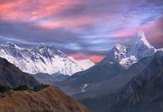Mountains, Autumn, Everest, Himalayas. Himalayas. Fascinating  high peaks, mountains and landscape at sunrise colours. Everest Region, Nepal Stock Image