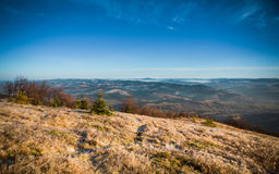 Mountains in autumn with iced grass.  Stock Photos