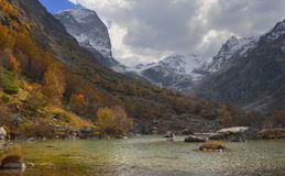 Mountains in autumn. This is somber landscape in Caucasus mountains in fall Stock Photos