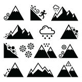 Mountains, avalanche, snowslide- natural disaster icons set Royalty Free Stock Image