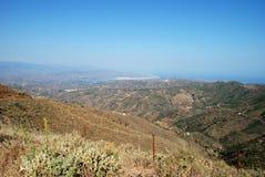 Mountains, Axarquia Region, Andalusia, Spain. View from mountains looking East towards Velez Malaga and the coast, Montanas de Malaga, Axarquia region, Malaga Stock Image