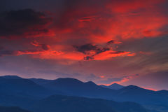 Mountains in the background of a beautiful sunset Stock Images