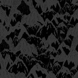 Mountains background. Hand drawn mountain seamless pattern with tree and flag, vector ink illustration Royalty Free Stock Image