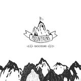 Mountains background. Hand drawn mountain seamless pattern, vector ink illustration Royalty Free Stock Photography