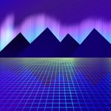 Mountains on a background of neon lights vector illustration