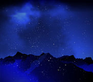 Mountains on the background of night sky Royalty Free Stock Photos