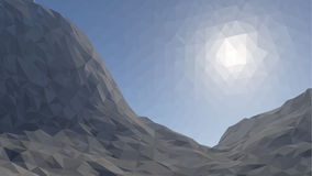 Mountains background with sun in glacier. illustration of  many triangles.  Royalty Free Stock Images