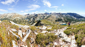 Mountains backpacker panorama Royalty Free Stock Photos
