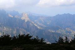 Bavella mountains on Corsica just before storm stock images
