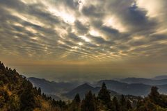 Sunrise over the mountains. Beautiful sunrise in the Heng Mountain of China Stock Photo