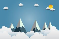 Mountains with beautiful sunsets over the clouds.paper art. illustration. Mountains with beautiful sunsets over the clouds.paper art stock illustration