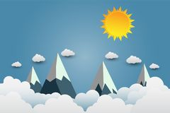 Mountains with beautiful sunsets over the clouds.paper art.vector illustration. Mountains with beautiful sunsets over the clouds.paper art. illustration vector illustration