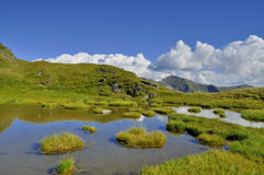 Mountain lake with islands in Carpathians Royalty Free Stock Photography