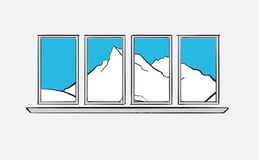 Mountains behind windows. Longing for the mountains. Hand drawn vector art for architecture and communication projects royalty free illustration