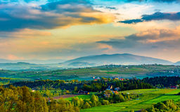 Mountains of the Beskid Island at sunset. Stock Photo