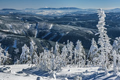 Mountains in Beskydy. View to a winter landscape Beskydy mountains / Czech Republic royalty free stock image