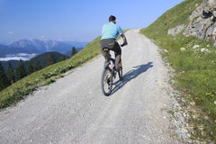 Mountains and biker Stock Photos