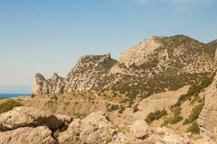 Mountains on the black sea coast, formed from ancient coral reefs. Crimea stock photo