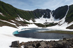 Mountains and Blue Lake on Kamchatka Peninsula Royalty Free Stock Photos