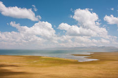 Mountains and blue lake Son Kul in Kyrgyzstan under white clouds. Panorama with lake and blue cloudy sky above on a clear day Stock Photo
