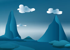 Mountains in blue light. Mountains in blue landscape with puffy clouds Stock Photos
