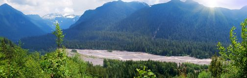 Mountains  blue panorama with river Stock Images