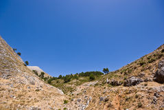 Mountains and a blue sky. The picture shows mountains and a sunny blue sky at the Costa del Sol in Spain stock photo