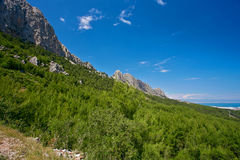 Mountains, blue sky and trees Royalty Free Stock Images