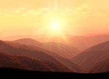 Mountains. Bright mountain landscape at sunset royalty free stock images