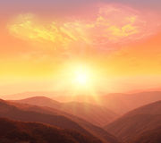 Mountains. Bright mountain landscape at sunset royalty free stock photos