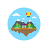 Mountains and building in circle. Flat wallpaper with mountains, house balloon in circle Stock Photo