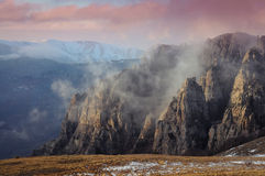 Mountains burn. The valley of ghosts in the Crimea with burn erode rocks Stock Images