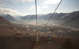 Mountains from cable car Royalty Free Stock Photo